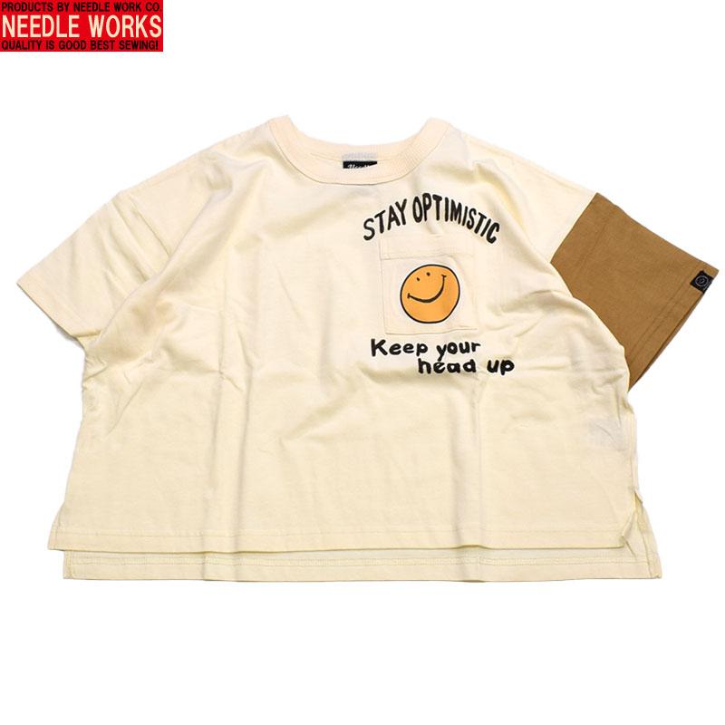 ニードルワークス スマイルビッグポケット Tシャツ オフホワイト