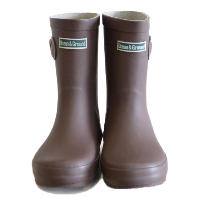 オーシャンアンドグラウンド レインブーツ 長靴 ブラウン