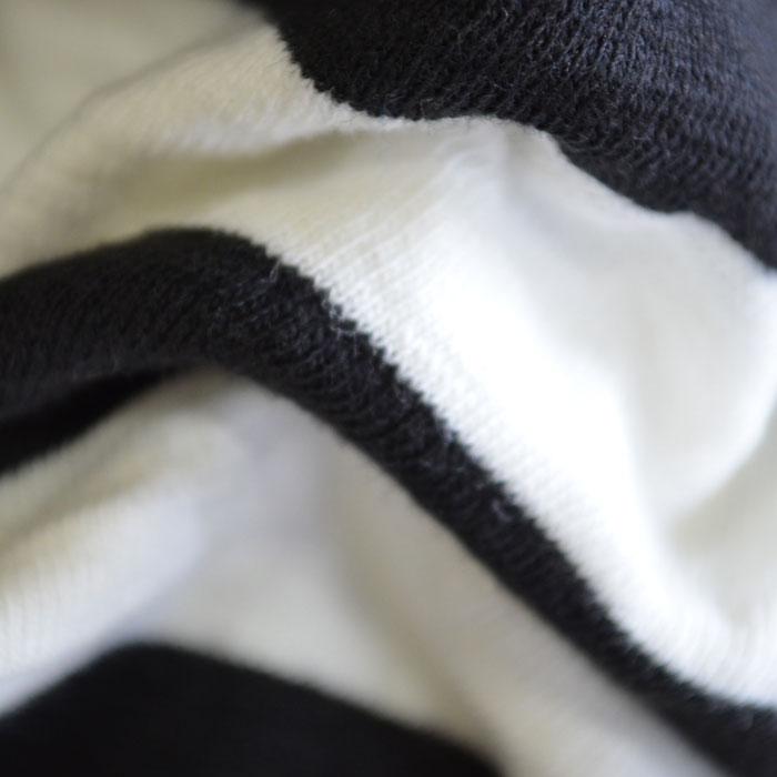 オーシャンアンドグラウンド ボーダーデニムポケット付Tシャツ2 ブラック