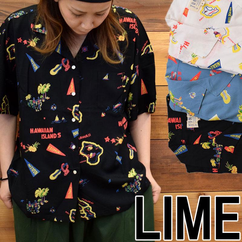 ライム LIME レディース レーヨンアロハシャツ 21044601