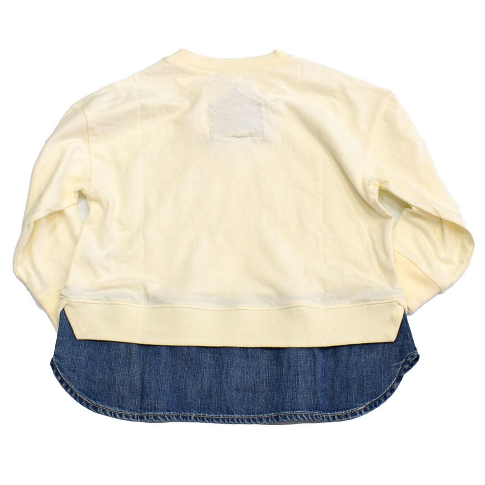 オーシャンアンドグラウンド レイヤードデニムロングTシャツ オフホワイト