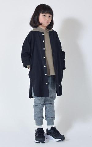 ジェネレーター ノーカラーシャツコート ブラック