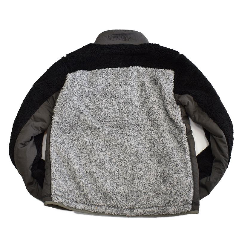 クリフメイヤー メンズ シャギーボア スタンドジャケット ブラック×グレー
