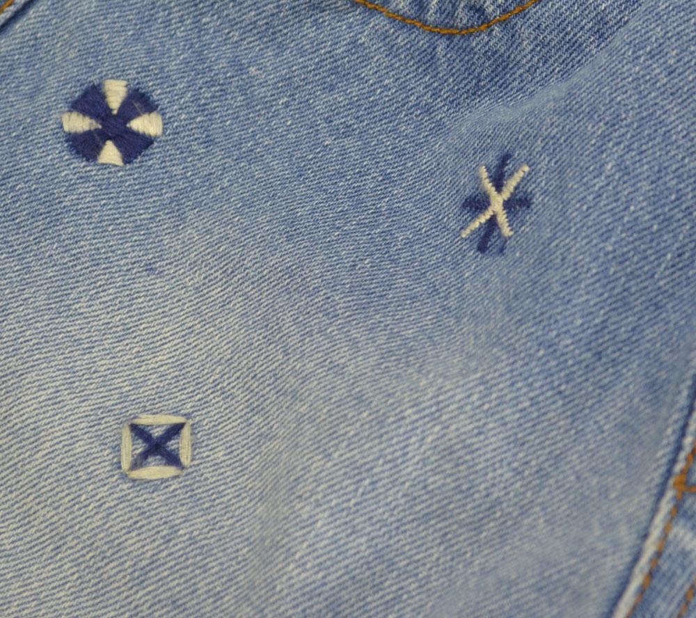 グラニーブランケット デニム刺繍ショートパンツ