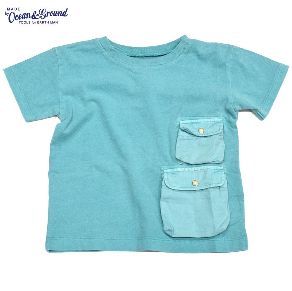 オーシャンアンドグラウンド ピグメントダイ ポケットTシャツ ターコイズブルー