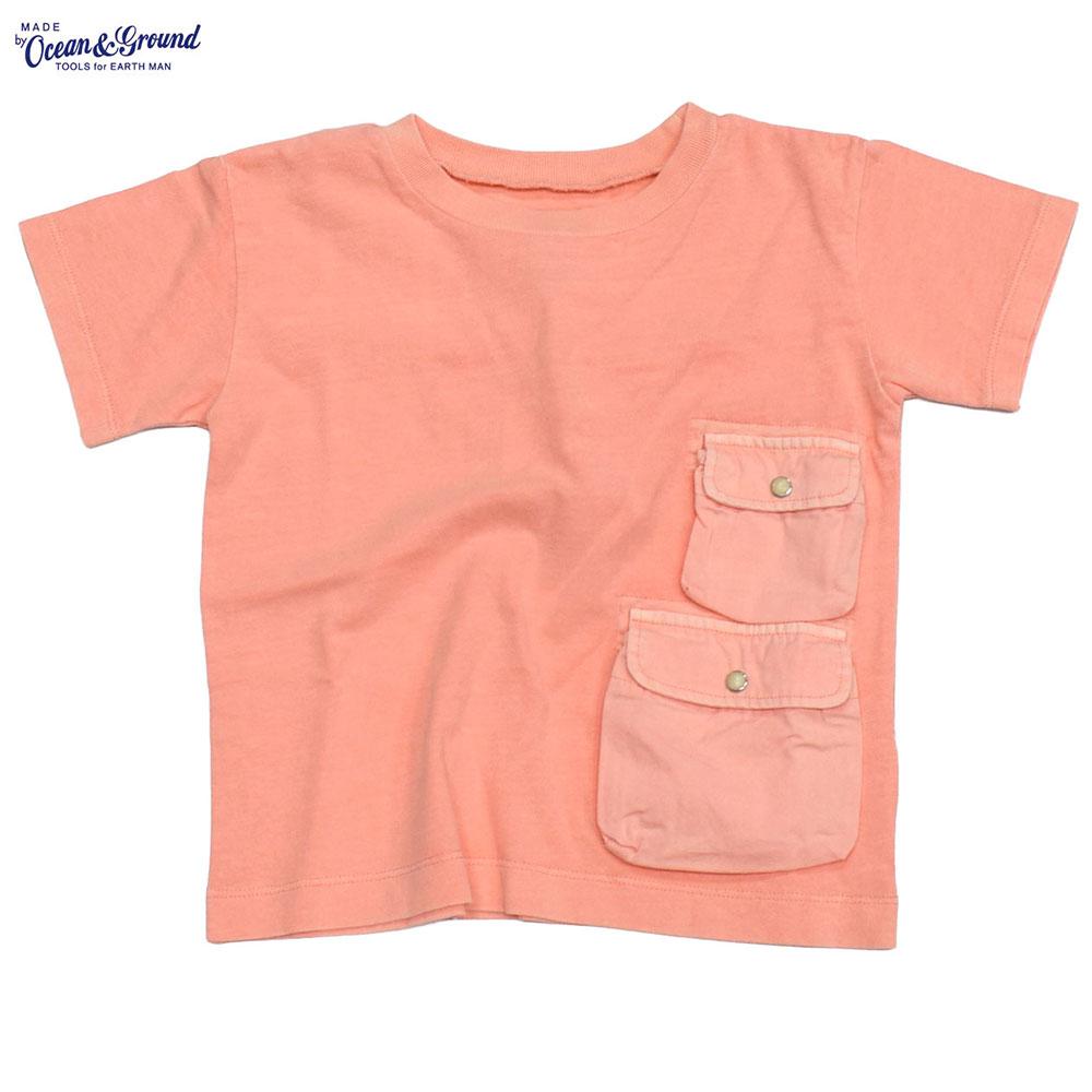 オーシャンアンドグラウンド ピグメントダイ ポケットTシャツ ピンク