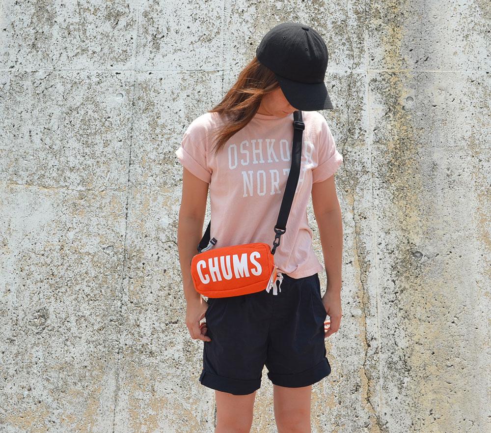 チャムス CHUMS ボートロゴ スウェット ショルダーバッグ オレンジ