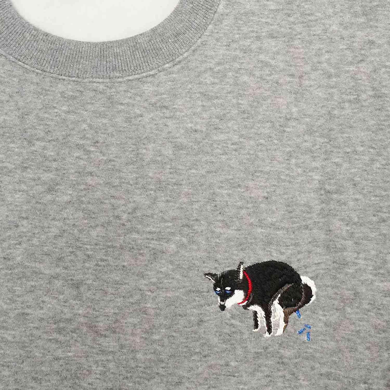 SHIBA-INU POOPING SWEAT TOP - 黒柴