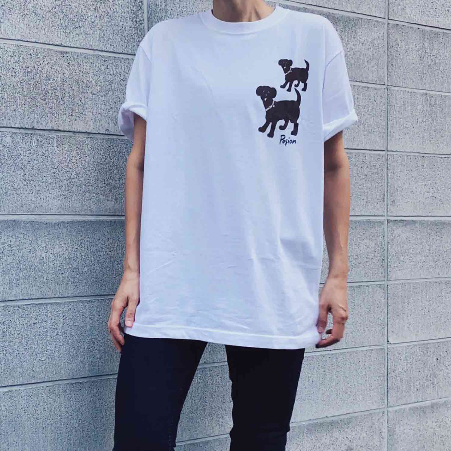 Two Dogs T-shirts  - WHITE