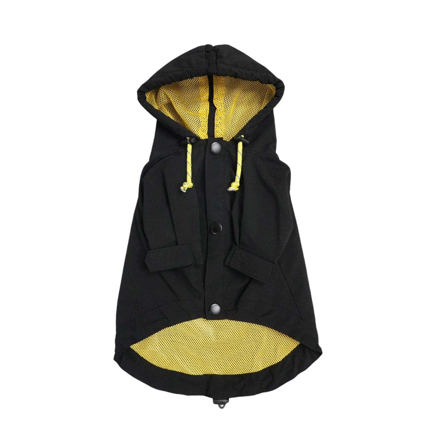DRAWSTRING RAINCOAT - BLACK