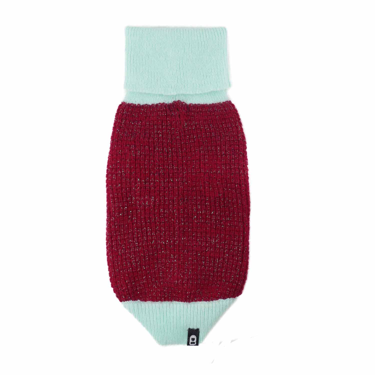 ANGORA×GLITTER SWEATER RED/MINT