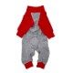 BICOLOR COTTON ROMPERS GREY/RED