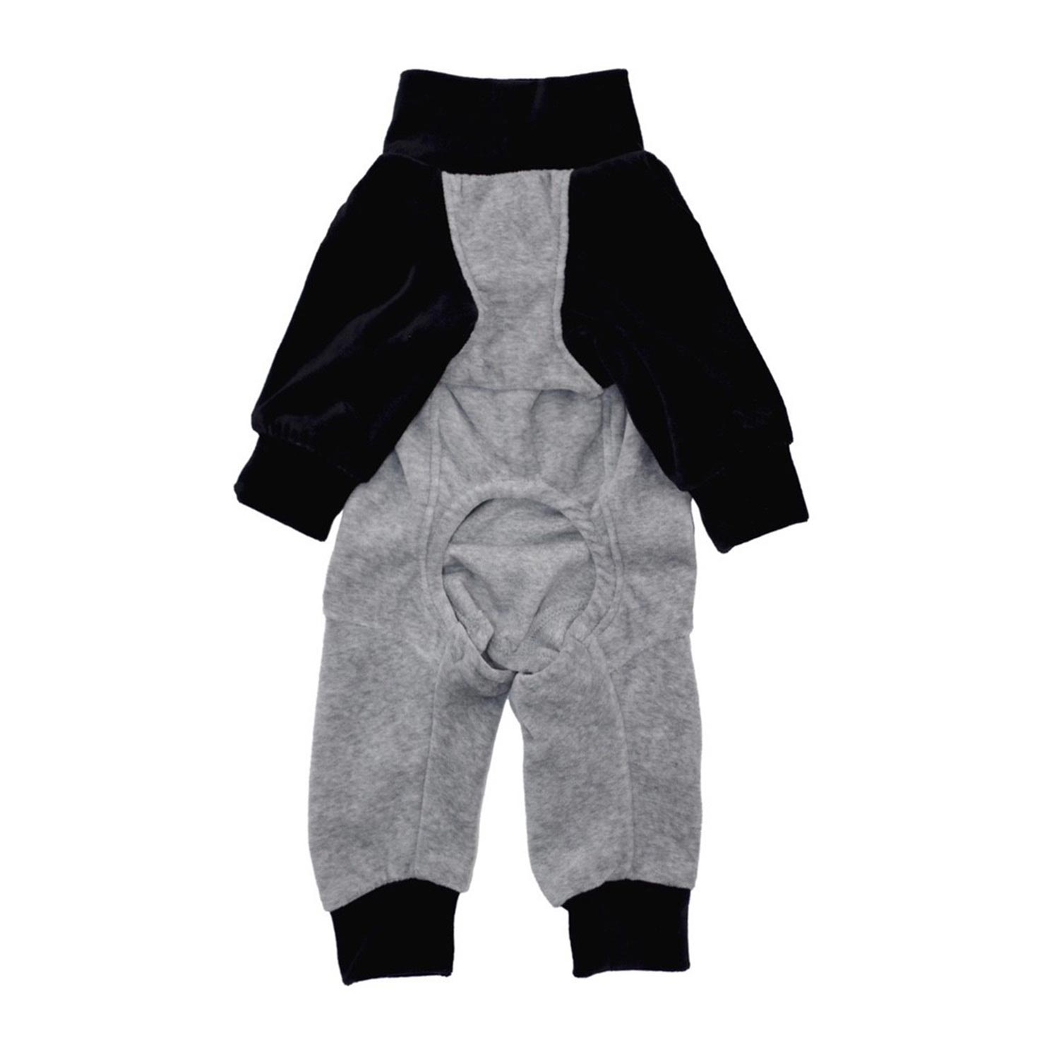 BICOLOR COTTON ROMPERS GREY/BLACK