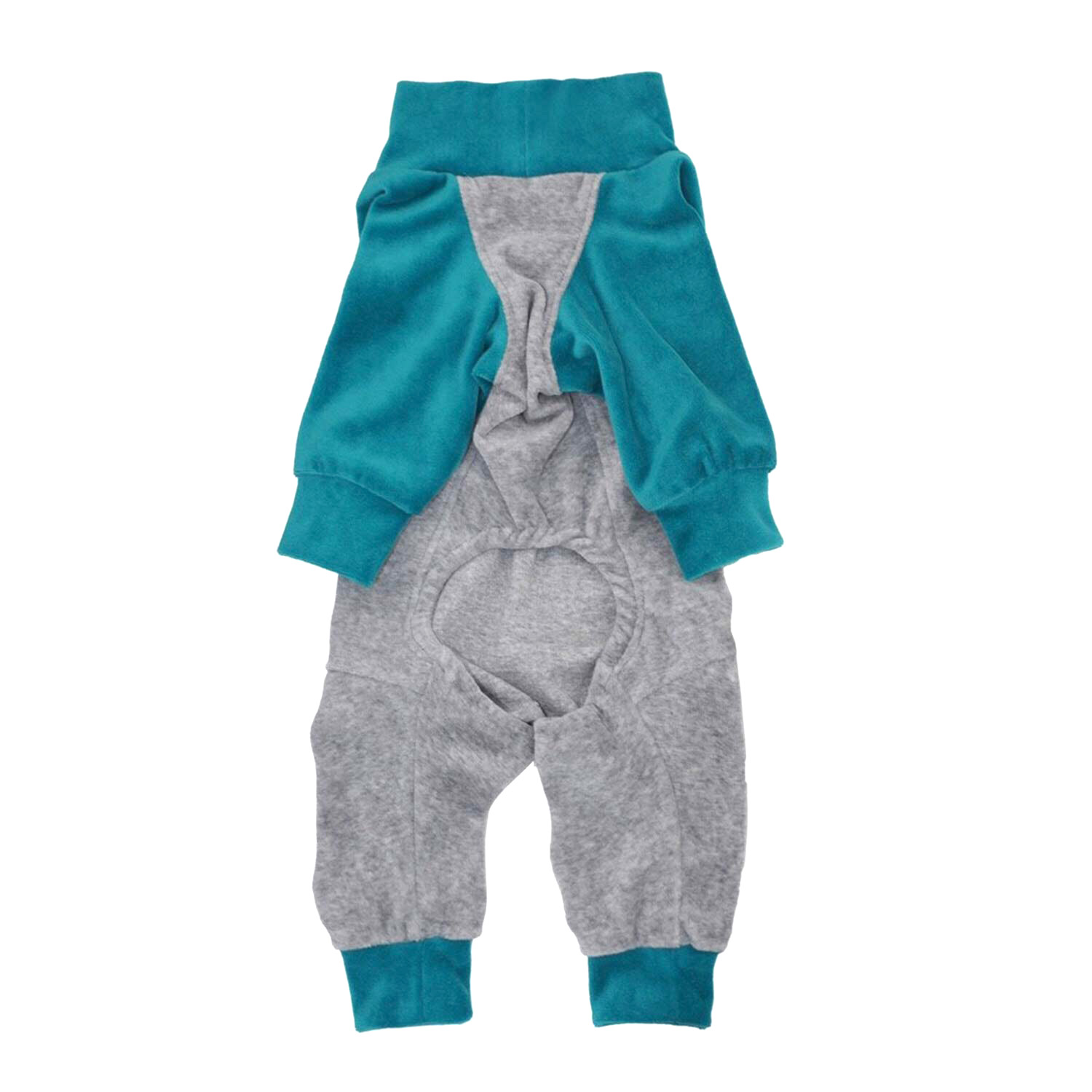 BICOLOR COTTON ROMPERS GREY/BLUE
