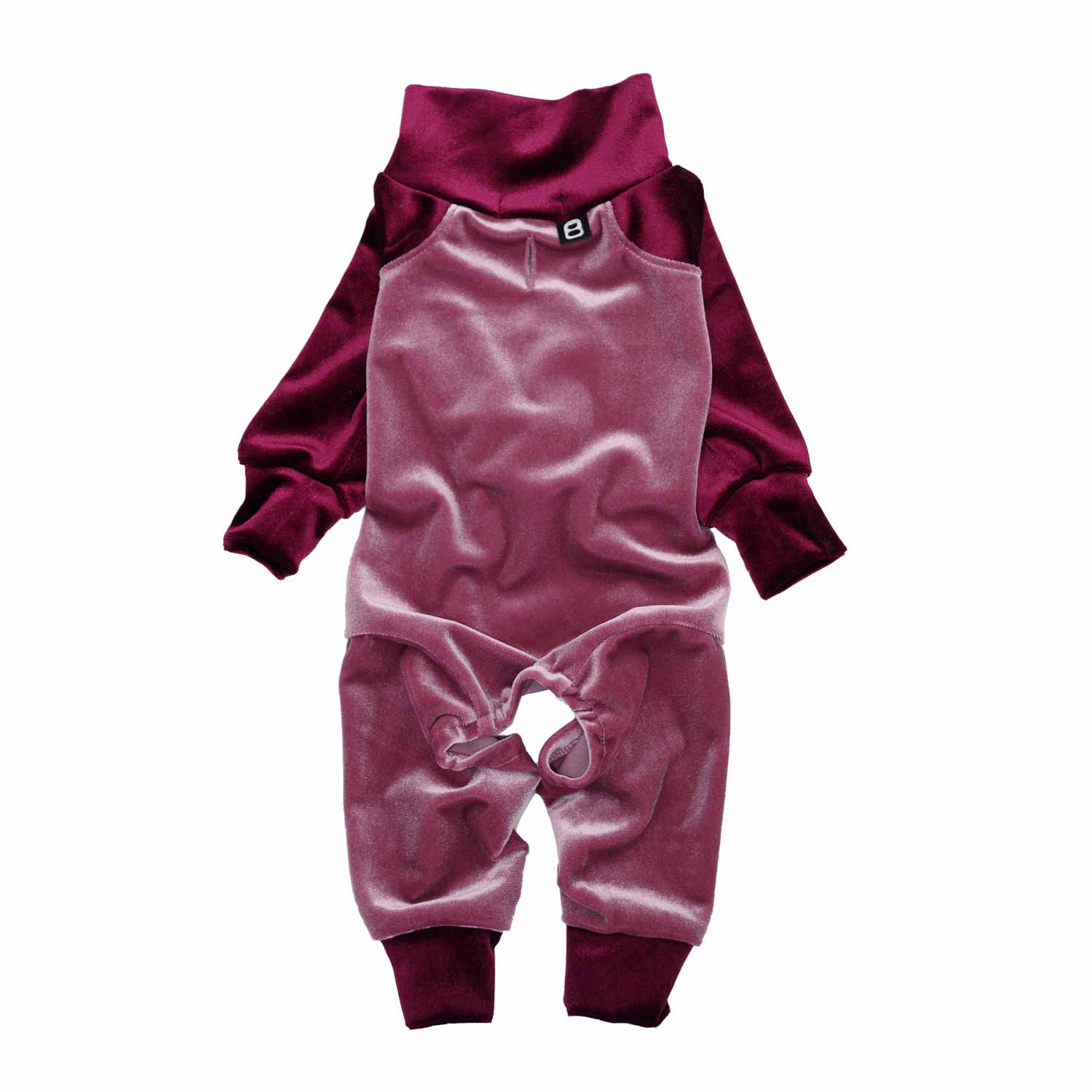 BICOLOR STRETCH VELOR ROMPERS PINK/RED