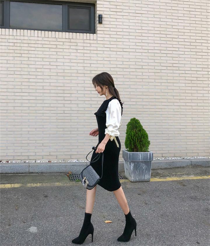 OL  韓国 縫付 シャツスリーブ  INSスタイル 冬 ニットワンピース タイトスカート
