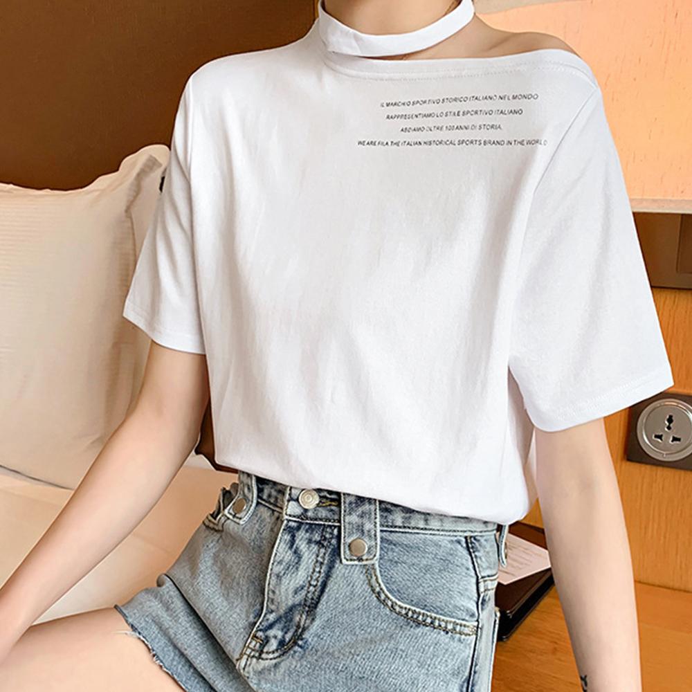 ワンショルダー tシャツ レディース ロゴ カットソー 半袖 トップス 春夏 肩あき