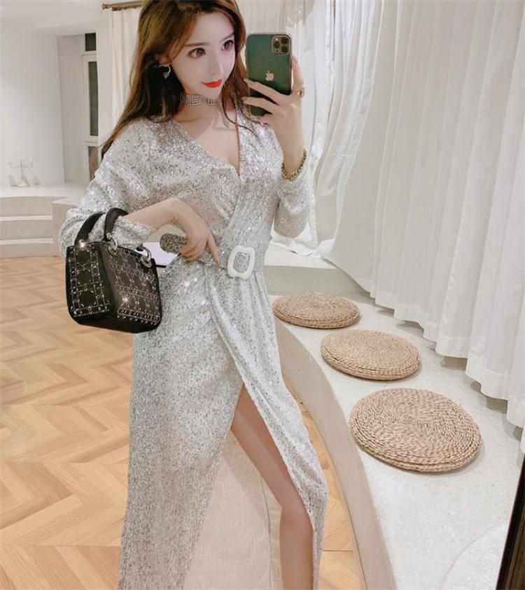 韓国ファッション  2020年春 新作 スパンコール ワンビース 百掛け セクシー