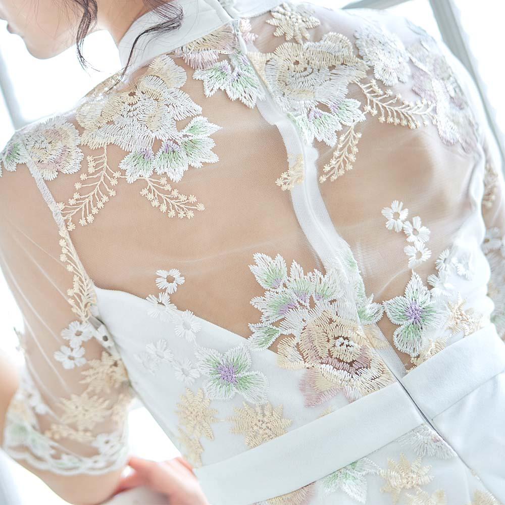 花柄刺繍 レース ペプラム リボン キャバドレス ミニドレス