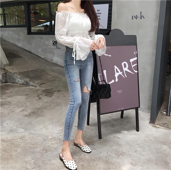 韓国 スリムフィット ファッション 気質 エレガント 百掛け ダメージデニムパンツ