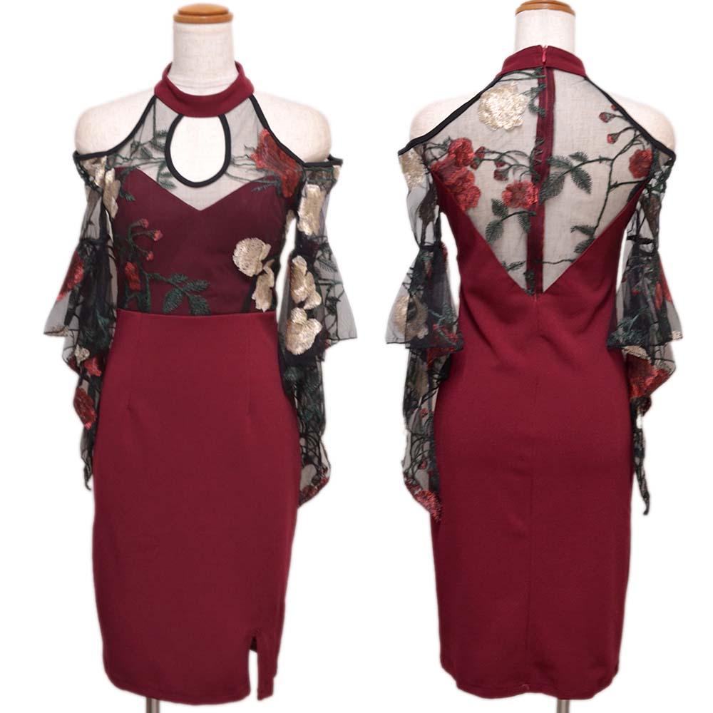 刺繍フラワーセクシーミニドレス パーティードレス キャバドレス