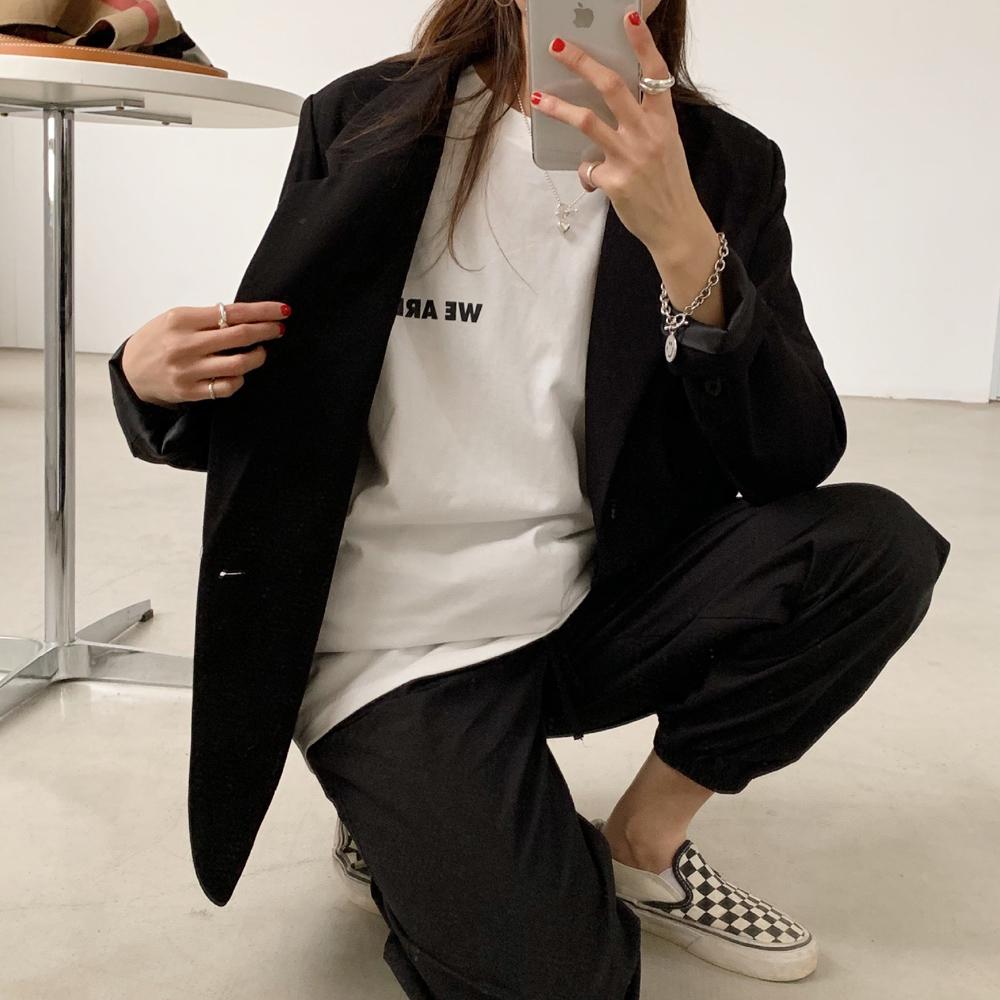 Tシャツ レディーストップス 長袖カットソー 韓国 英字ロゴ 体型カバー ゆったり
