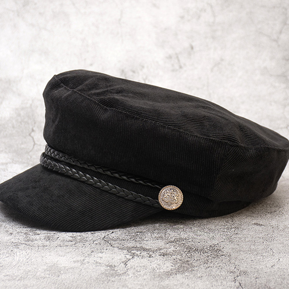 キャスケット 帽子 レディース コーディロイ おしゃれ 可愛い マリンキャップ 飾りボタン