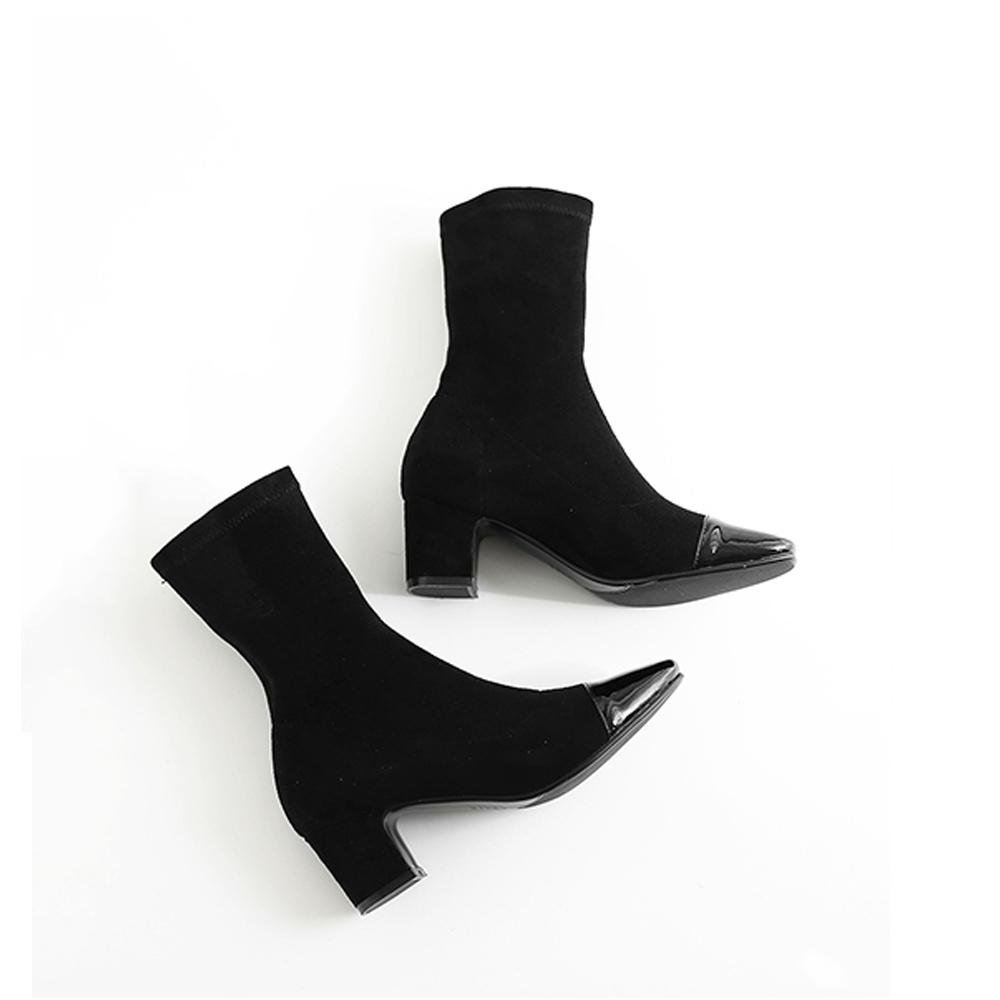 ブーツ ショートブーツ レディース ソックスブーツ 太ヒール 靴 春秋冬 韓国 美脚