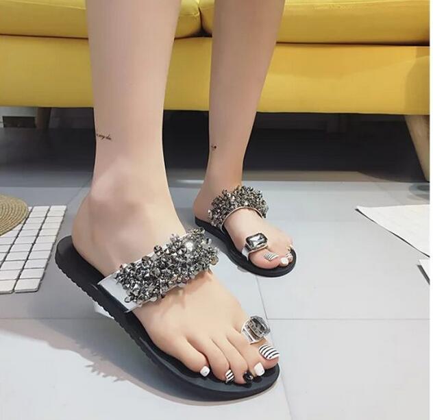 ストーンビジューサンダル/ビーチサンダル/歩きやすい/靴