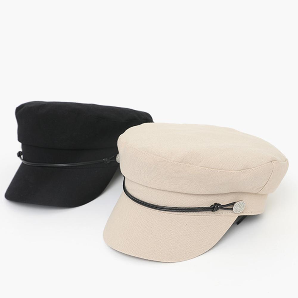 キャスケット 帽子 マリンキャップ レディース おしゃれ 可愛い 飾りボタン シンプル 大人