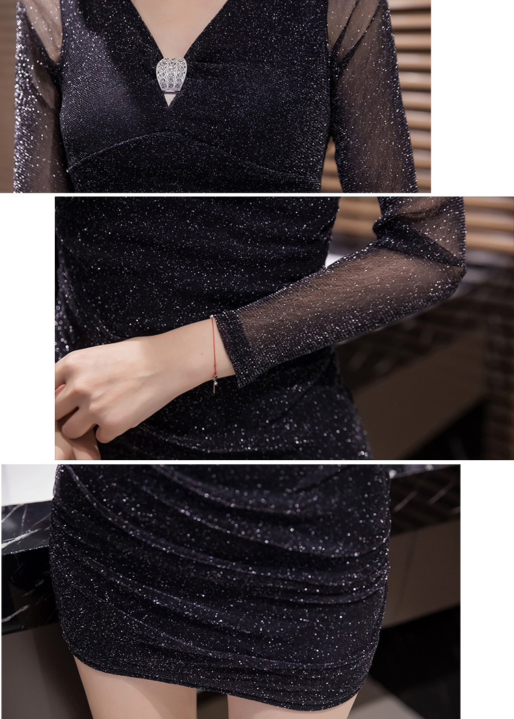 長袖 黒色 ボディコン ワンピース セクシーキャバドレス