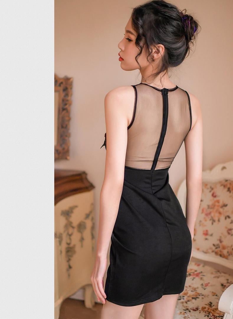 前刺繍 黒 ボディコン ワンピース セクシー キャバドレス