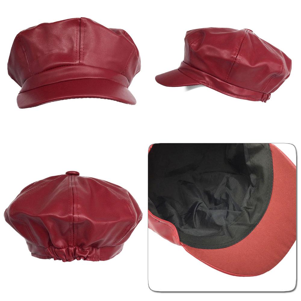 キャスケット帽子 レディース 小物 CAP フェイクレザーキャップ 小顔効果