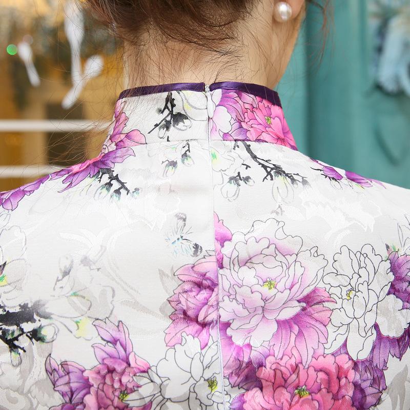 紫色 ショート丈 チャイナドレス キャバドレス