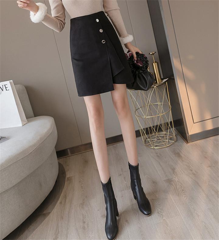 韓国 ウール イレギュラー スカート ハイウエスト スリム ミニスカート