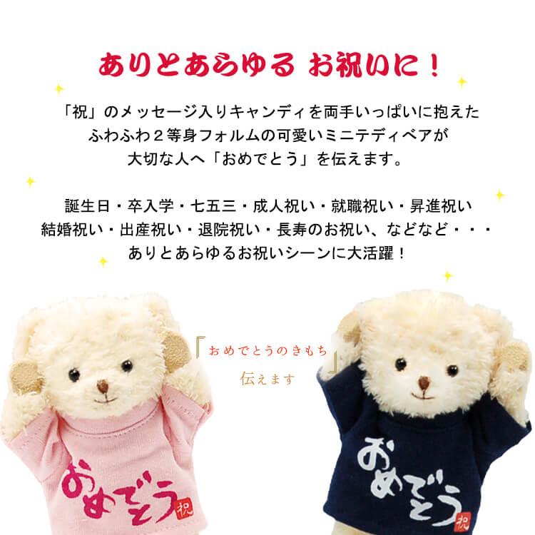 おめでとうべア 飴3個入り COCO【別オプション名入れ可】【12cm】