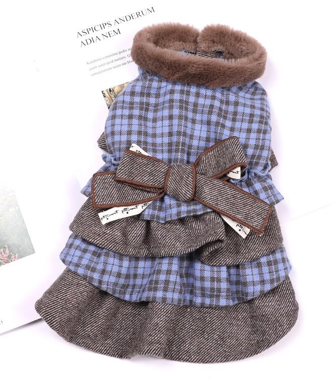 【Petit Coussinet】衿ボアチェックワンピース 【Autumn&Winter】~One-piece~
