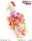 犬 ペット 着物レンタル 女の子 わんこ 中型犬 klr-004 ペット衣装 犬の着物 動物衣装 七五三 結婚式 高級生地 かわいい フォトブック 動画 プレゼント「黄色地紗矢型にオレンジ吉祥柄帯」