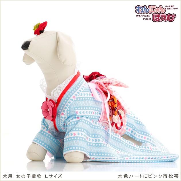 犬 ペット 着物レンタル 女の子 わんこ 中型犬 klr-008 ペット衣装 犬の着物 動物衣装 七五三 結婚式 高級生地 かわいい フォトブック 動画 プレゼント「水色ハートにピンク市松帯」