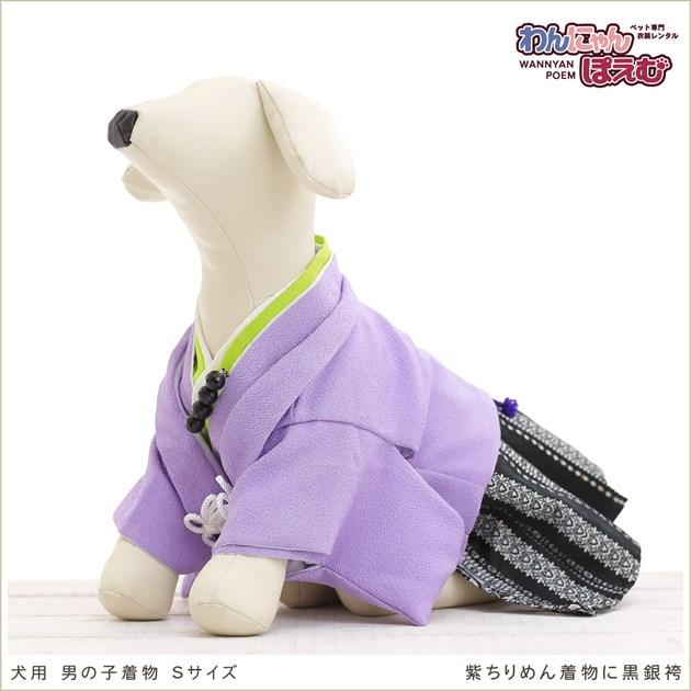 犬の着物レンタル 小型犬 男の子 ds-008 ペット衣装 Sサイズ 犬の着物 わんこ 高級生地 かわいい 結婚式 七五三 年賀状 撮影会 かっこいい 「紫ちりめん着物に黒銀袴」
