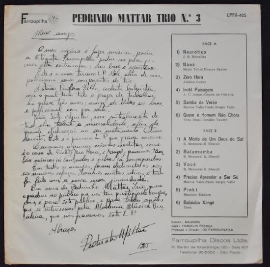 Pedrinho Mattar Trio - Pedrinho Mattar Trio N.° 3
