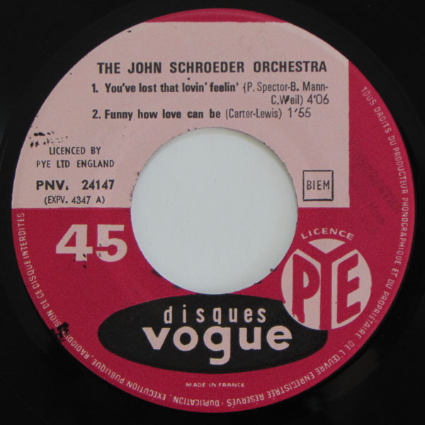 The John Schroeder Orchestra  – You've Lost That Lovin' Feelin'