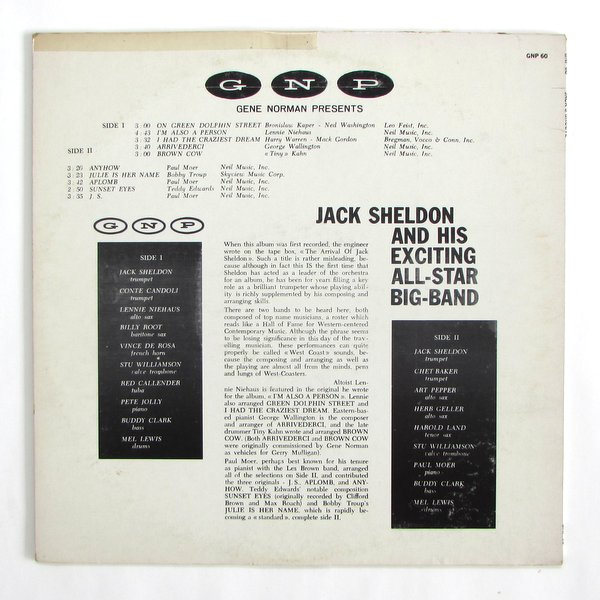Jack Sheldon And His Exciting All Star Big Band - Jack's Groove Chet Baker