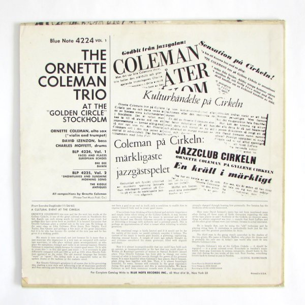 """The Ornette Coleman Trio - At The """"Golden Circle"""" Stockholm ‐ Volume One"""
