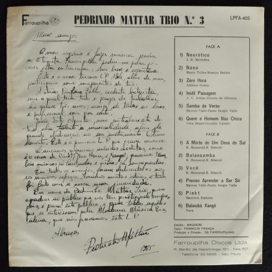 Pedrinho Mattar Trio - Pedrinho Mattar Trio N° 3
