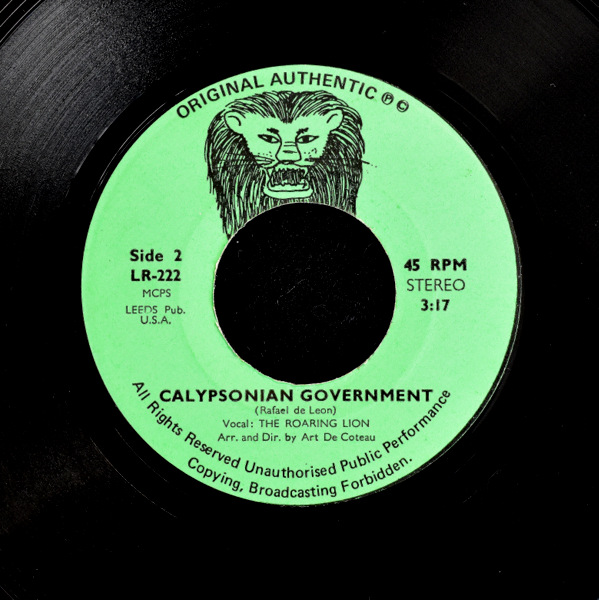 The Roaring Lion - Carnival Long Ago / Calypsonian Government