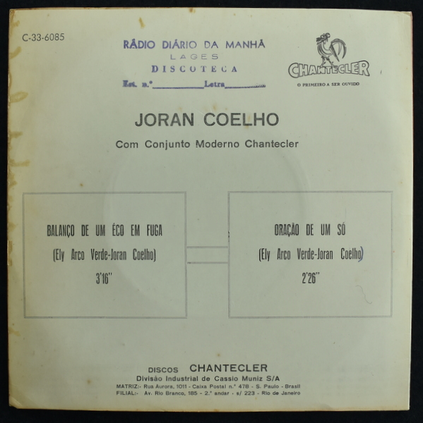 Joran Coelho - Balanco De Um Eco Em Fuga / Oracao De Um So [7inch]