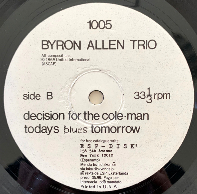 The Byron Allen Trio – The Byron Allen Trio 65年US ESP オリジナル