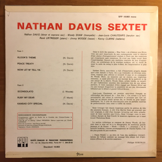 Nathan Davis Sextet – ST    SFP  フランスオリジナル