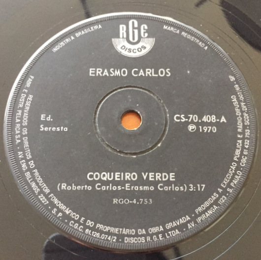 Erasmo Carlos - Coqueiro Verde  レア Samba Rock